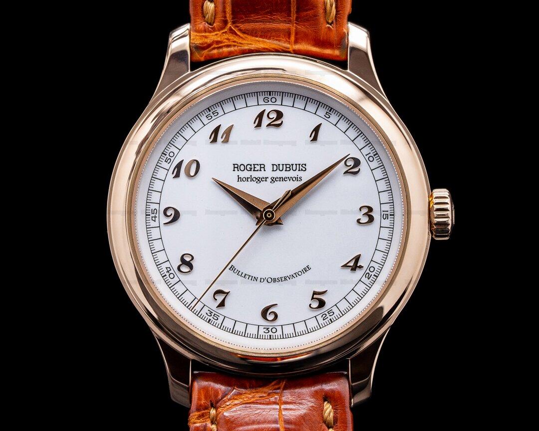 Roger Dubuis Hommage S37 White Enamel Dial 18K Rose Gold Chronometre RARE Ref. H37 57 0 5