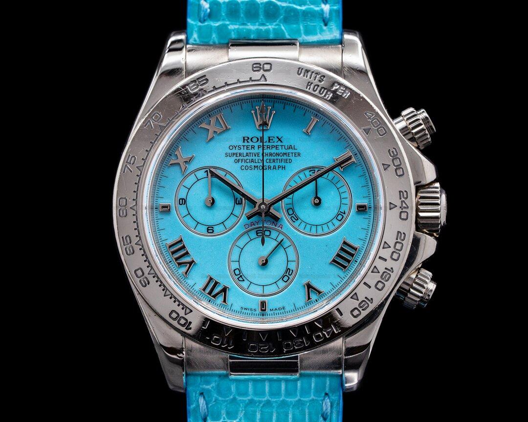 Rolex Daytona 116519 BEACH Blue Dial 18K White Gold FULL SET RARE Ref. 116519 BEACH