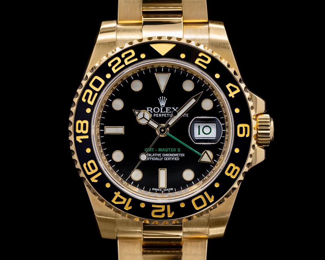 Rolex GMT Master II 116718 Black Dial 18K Yellow Gold Ref. 116718