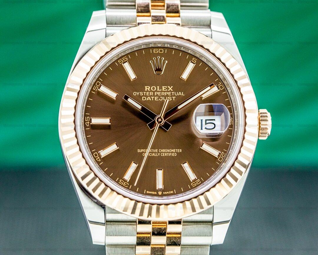 Rolex Datejust 41 126331 Tobacco Brown Stick Dial 18K Rose / SS 2021 Ref. 126331