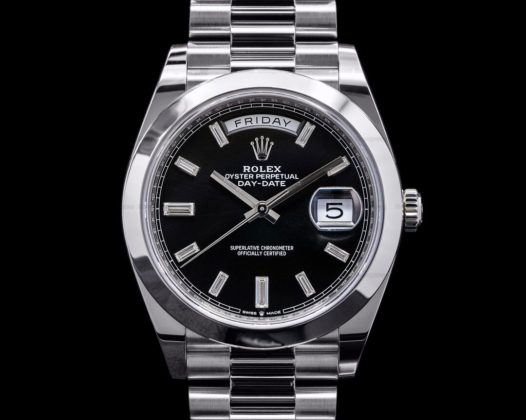 Rolex Day Date 228206 Black Dial Diamond Baguette Markers 40MM 2021 Ref. 228206
