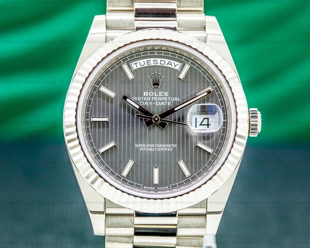 Rolex Day Date 228239 40MM President 18K WG Rhodium Pinstripe 2021 Ref. 228239