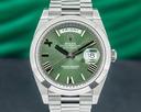 Rolex Day Date Platinum Olive Green Dial Roman Numeral 40MM 2020 UNWORN Ref. 228206